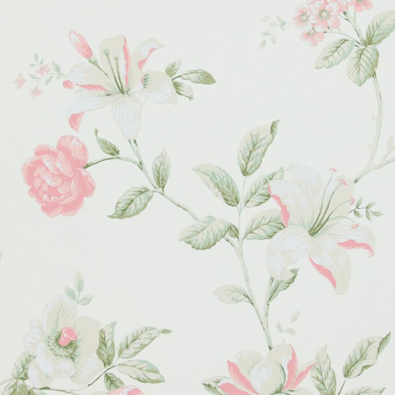 papier peint fleur ete rose fond blanc 17880 de la collection papier peint boutique lut ce. Black Bedroom Furniture Sets. Home Design Ideas