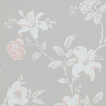 FLEUR ETE ROSE FOND GRIS 17886