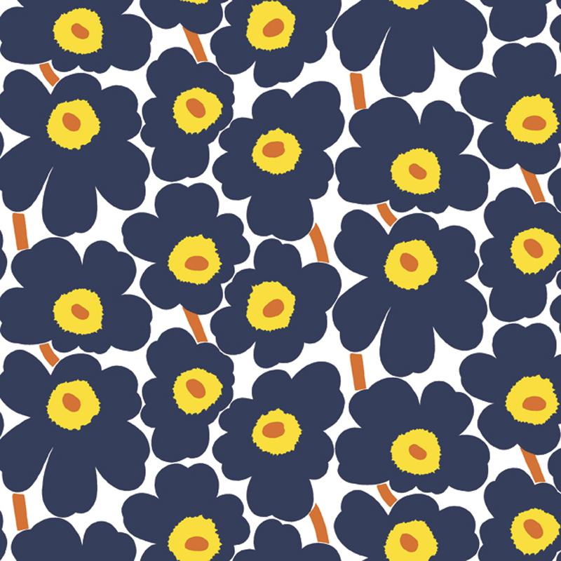 papier peint pieni unikko bleu jaune 17903 de la collection papier peint marimekko lut ce. Black Bedroom Furniture Sets. Home Design Ideas