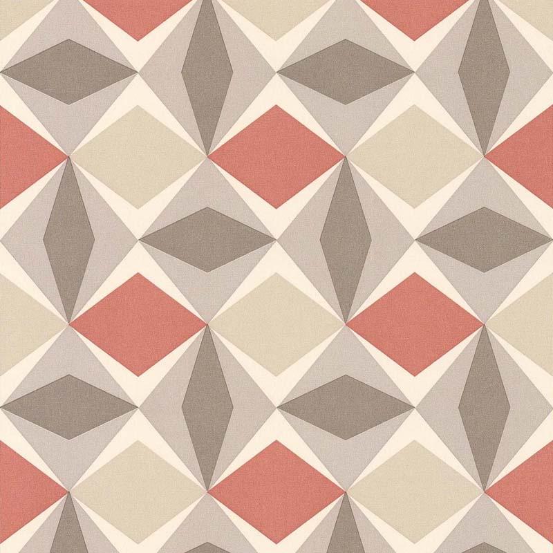 Papier peint losange corail beige 51144010 de la - Papier peint losange ...
