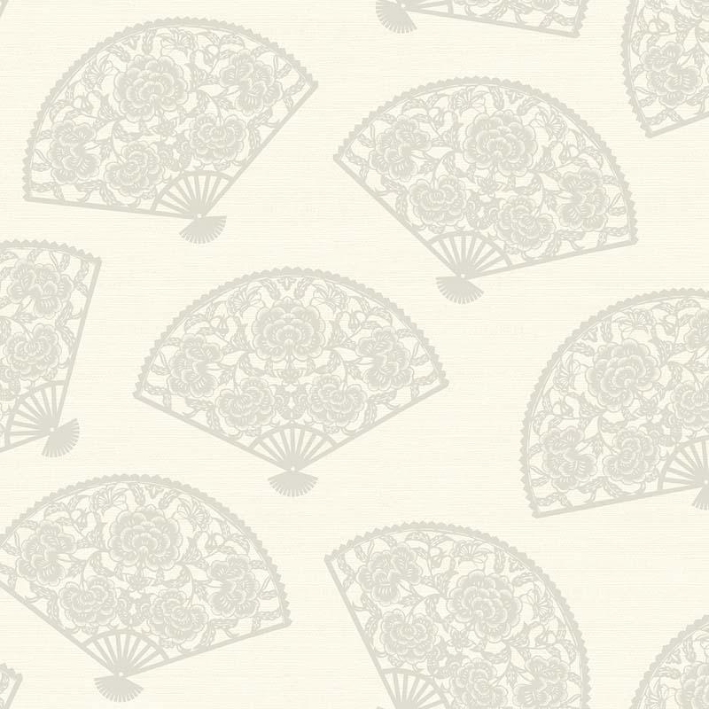 papier peint eventail fleuri blanc ch70900 de la collection papier peint chinoiserie lut ce. Black Bedroom Furniture Sets. Home Design Ideas