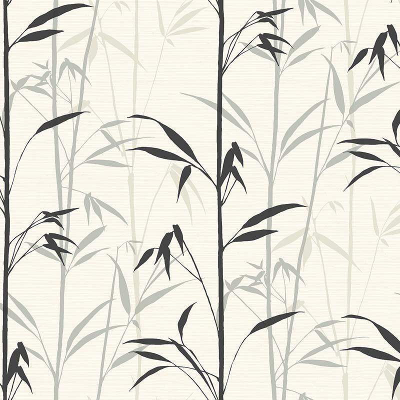 Papier Peint Bambou Noir Fond Blanc Ch71400 De La