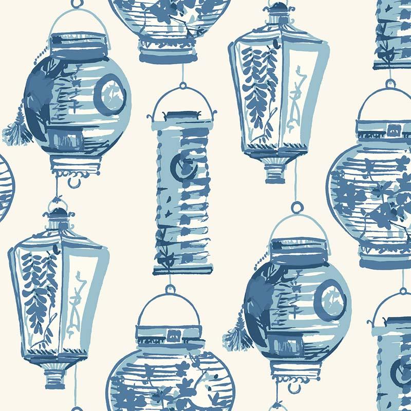 papier peint belle lanterne bleu ch71502 de la collection papier peint chinoiserie lut ce. Black Bedroom Furniture Sets. Home Design Ideas