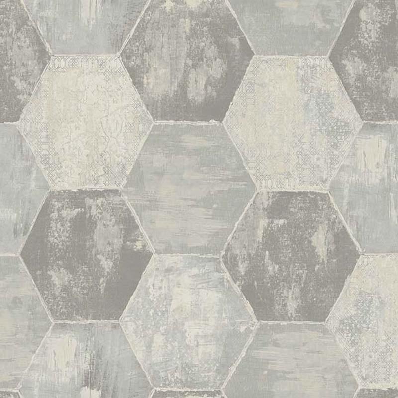Papier peint mosaique hexagone gris tn50501 de la - Papier peint mosaique ...