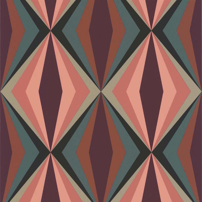 Papier peint losange rose vert 51173003 de la collection - Papier peint losange ...