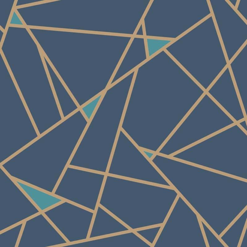 Papier Peint Prisme Or Bleu Navy Ry2704 De La Collection