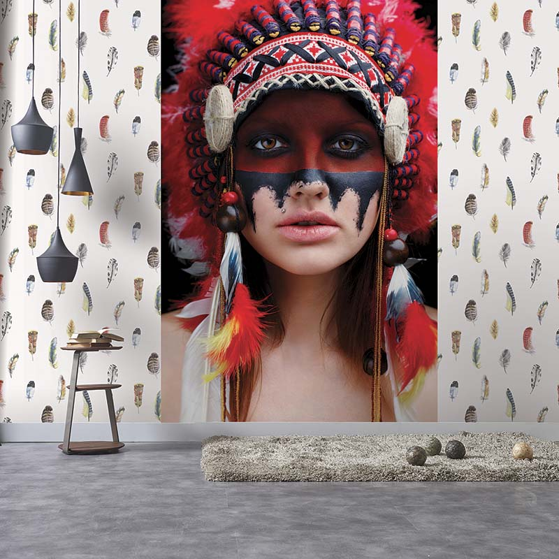 Globe-Trotter | DECOR MURAL NATIVE AMERICAN - G45277 | PLUMES ROUGES - G56401