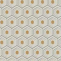 Papier Peint Alveole Argent Gris Blanc 358992 De La Collection