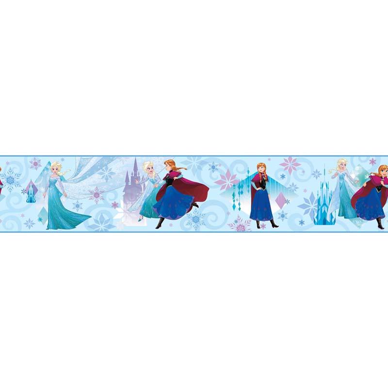 Papier Peint Frise Les Soeurs Reines Des Neiges Bleu Dy0142bd De