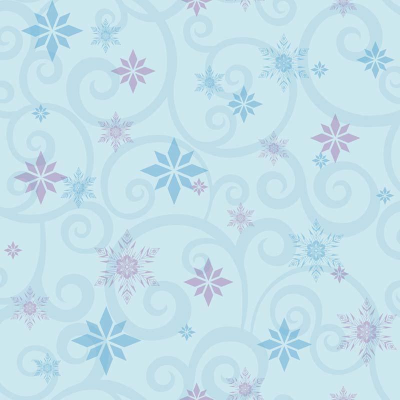 Papier Peint Ornement Flocon Reines Des Neiges Bleu Dy0157 De La