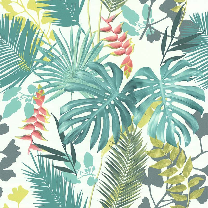 Papier Peint Jungle Mix Vert Et Corail 51178304 De La Collection