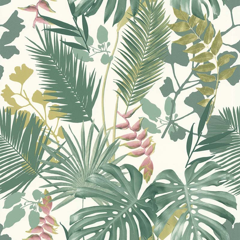 Papier Peint Jungle Mix Vert Fonce Rose 51178314 De La Collection