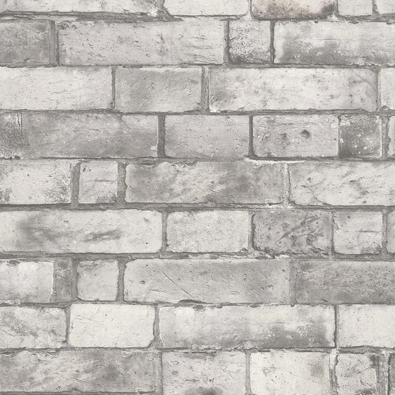 papier peint brique anglais blanc gris 51151309 de la. Black Bedroom Furniture Sets. Home Design Ideas
