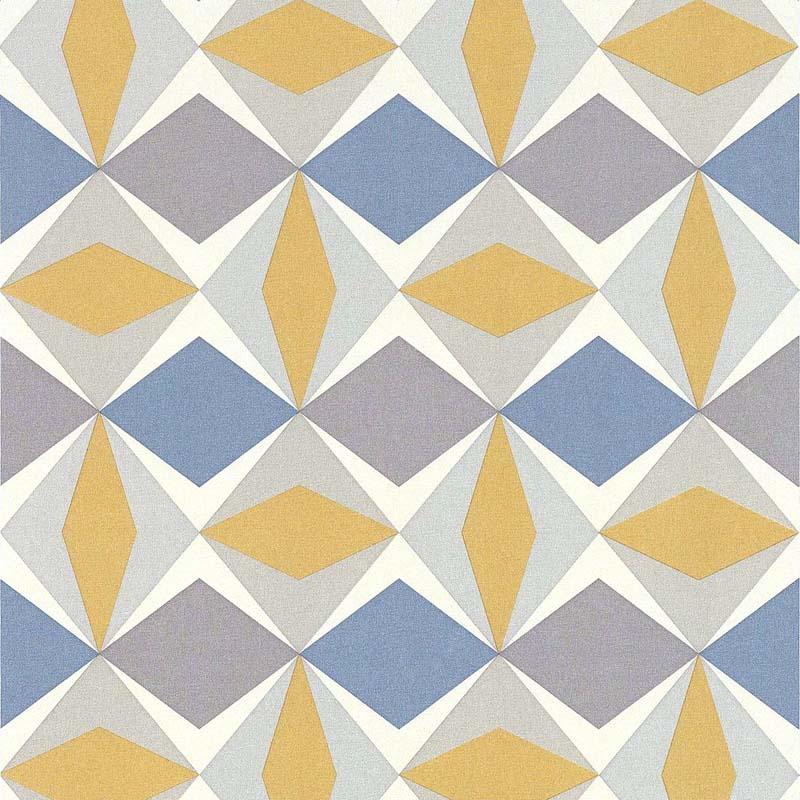 papier peint losange moutarde et bleu 51144002 ska de la. Black Bedroom Furniture Sets. Home Design Ideas