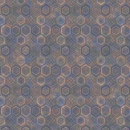 HEXAGONE FLEURI BLEU – 23735