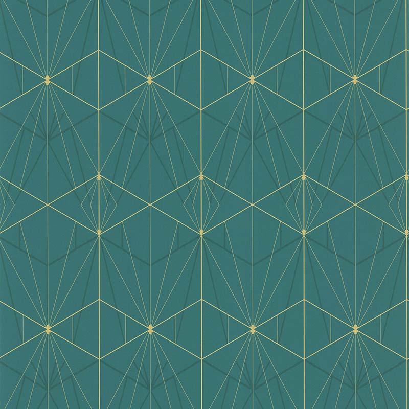 Papier Peint Art Deco Vert Et Dore 51192504 De La