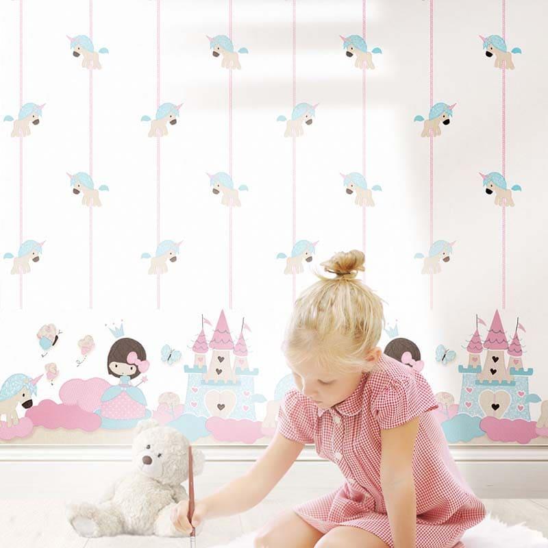 Baby Land | LICORNE BEIGE CELESTE - 5456 &  FRISE PETITE PRINCESSE CELESTE - 5499