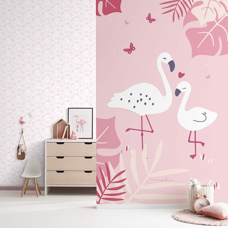 Baby Land | PALME ROSE PÂLE PAILLETÉ - ND21130 & DÉCOR MURAL FLAMANT 2 LÉS - ND21150