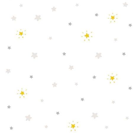 ETOILES GRIS ET JAUNE FOND BLANC – ND21143