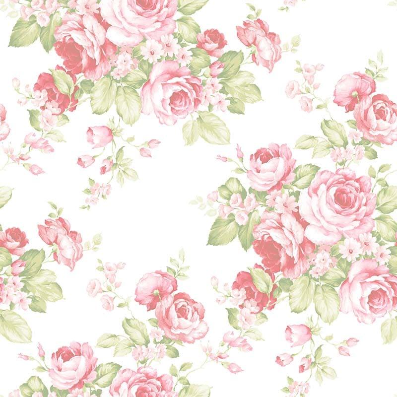 GRAND FLORAL ROSE ET VERT – AB27612