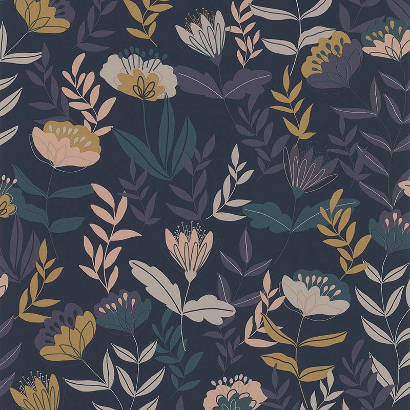 ABSTRACT FLOWERS BLEU FONCÉ – 51194501