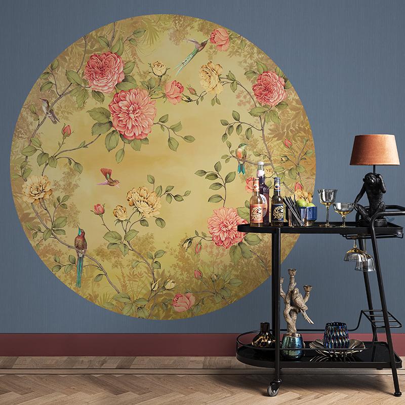 Bloom | DÉCOR MURAL ROND JARDIN OCRE IMPRESSION NUMÉRIQUE - BLO460DI